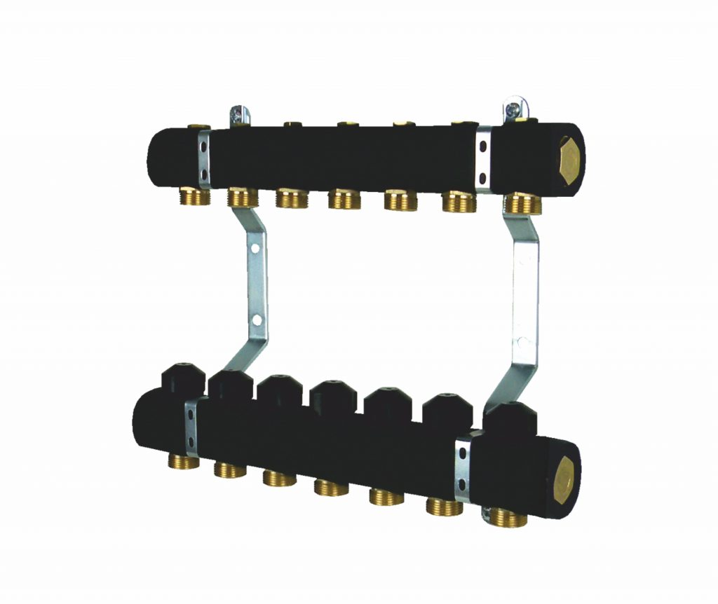 Rozdzielacz grzejnikowy z zaworami odcinającymi, zaworami termostatycznymi i korkiem, ocieplony