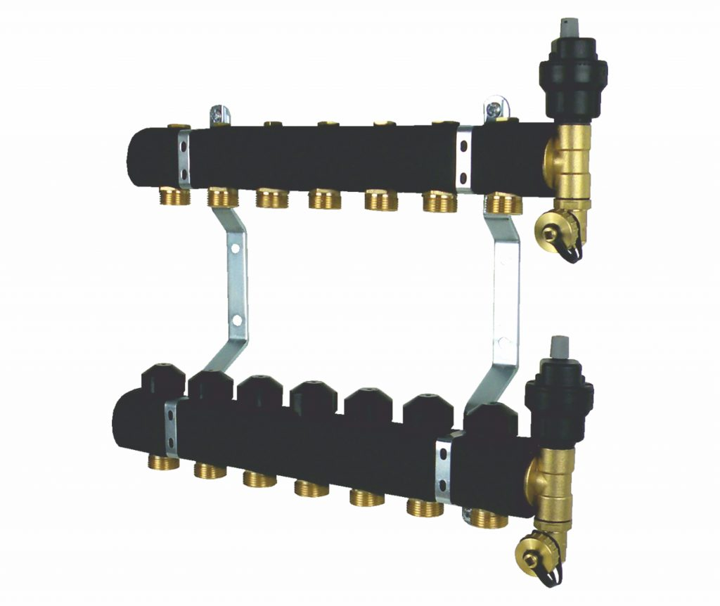 Rozdzielacz grzejnikowy z zaworami odcinającymi, zaworami termostatycznymi i zestawem odpowietrzająco-spustowym, ocieplony